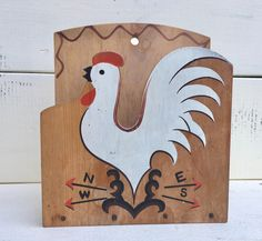Vintage Rooster Weathervane Wooden Napkin Holder * Perfect Kitchen Mail Keeper * Midcentury Painted Rooster & Directional Arrows * by SisterSassafras on Etsy