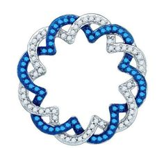 "Gorgeous blue and white diamond necklace here at Pharaoh's Jewelers. 10 K White Gold with 1/3 ct TDW and 18"" chain"