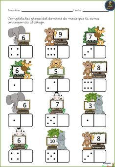 # first class lessons Kindergarten Math Worksheets, Preschool Learning Activities, Teaching Math, Preschool Activities, Spanish Teaching Resources, Math Numbers, First Grade Math, Math For Kids, Math Games