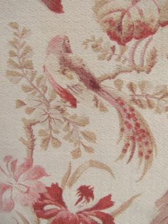 Antique French floral + bird curtain panel with rings   eBay