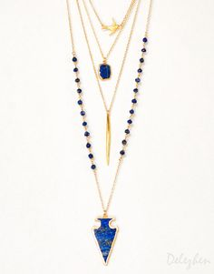 Layered Necklace Set - Set of 4 - Blue Lapis Lazuli Arrowhead Necklace - Layering Pendant - Boho Chic Jewelry - Long Statement Necklace