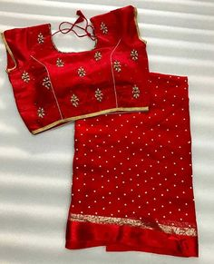 Pearl Georgette saree with stitched handwork blouse - Traditional all the way - Simple Sarees, Trendy Sarees, Fancy Sarees, Indian Silk Sarees, Georgette Sarees, Drape Sarees, Work Sarees, Chiffon Saree, Sari Blouse Designs