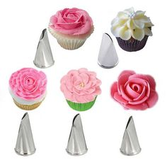 5 Pcs/Set Rose Petal Metal Cream Tips Cake Decorating Tools Steel Icing Piping Nozzles Cake Cream Decorating Cupcake Pastry ToolCreate beautiful floral frosting designs easily with our 5 piece Flower Petal Cake Decorating Tip Set. Creative Cake Decorating, Cake Decorating Tools, Cake Decorating Techniques, Creative Cakes, Cookie Decorating, Decorating Supplies, Decorating Ideas, Decor Ideas, Cupcakes Flores