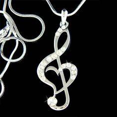 Cristal de Swarovski TREBLE CLEF de G amor música Nota por Kashuen