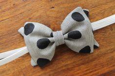 Girls Fabric Bow Headband Grey and Black Polka by TheSplendidBow