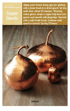 DIY copper gourds -- perfect for a fall table setting! Just use copper leaf on foam or dried gourds