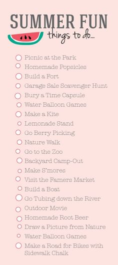 Summer To Do List form