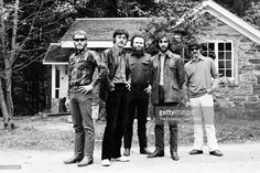 The Band (L-R Levon Helm, Robbie Robertson, Garth Hudson, Richard Manual, Rick Danko) pose for a portrait in October 1969 in Woodstock, New York.