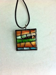 Stained glass abstract mosaic pendant by Albedomosaics on Etsy, $20.00