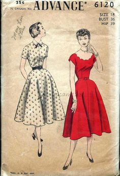 Advance 6120 Vintage 1950s Dress Pattern Scallop Neckline or Peter Pan Collar by sydcam123