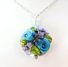 DAY SALE Floral Lampwork Pendant Necklace by BelladonnasJoy
