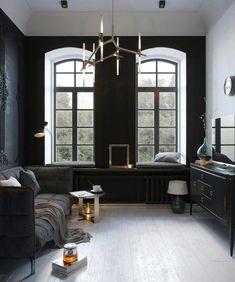 30 Dark and Moody Living Room Decor Ideas - Home Decor & Design Dark Living Rooms, Home And Living, Living Spaces, Cozy Living, Living Area, Home Interior, Interior Design Kitchen, Interior Decorating, Decorating Games