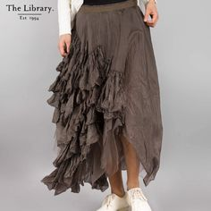 @ #TheLibrary1994 a #ruffled #silk #skirt from #Marc Le Bihan ~ Marked by his #fantastical #collections, #MarcLeBihan  creates #indulgent pieces. #weableart in #London Silk Skirt, Getting Old, Harem Pants, Collections, London, Boutique, Coat, Skirts, Shopping