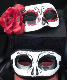 Beloved Masks, Day of the Dead themed male/female paired masks. $109.00, via Etsy.
