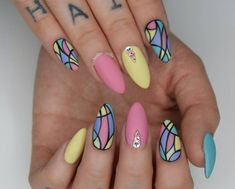 💟All Hand painted Matte top coat Cute Acrylic Nails, Acrylic Nail Designs, Cute Nails, Pretty Nails, Nail Art Designs, Gel Nails, Easter Nail Designs, Easter Nail Art, Painted Nail Art