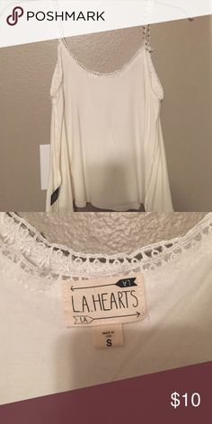 White crop top L.A. Hearts white crop top with floral straps. Very loose fit. Size small. true to size. LA Hearts Tops Crop Tops