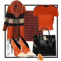 """""""ORANGE"""" by tinadhaliwal on Polyvore fall winter dressy look"""
