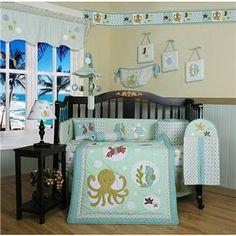OCTOPUS BABY BEDDING | Baby Boys Girls Ocean Nautical Baby Octopus Seahorse 13pc Crib Bedding ...