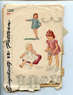 $10. Love the pleated sides! Simplicity 1264 Child's Dress with Pleated or Gathered Front, Embroidery & Panties '40s Vintage Sewing Pattern Size 1 Breast 20