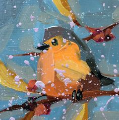 Robin no. 180 Original Bird Oil Painting by by prattcreekart