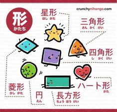 Bite-size, Easy-to-learn, Japanese language ! Learn Japanese Words, Study Japanese, Japanese Kanji, Japanese Names, Japanese Things, Japanese Language Lessons, Japanese Language Proficiency Test, Master Of Study, Shape Names