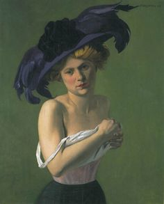 """Félix Vallotton (Swiss, 1865-1925) - """"Le Chapeau violet"""", 1907"""