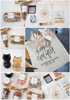 Tips on creating impressive out-of-towner bags using customized labels + washi tape. Include a Hangover Kit and His and Her Picks! All about personalizing your Wedding Welcome Bags.