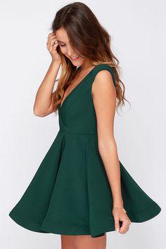 Cute Forest Green Dress - Skater Dress - Structured Dress - $47.00