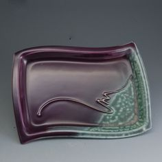 Handmade pottery serving tray purple and teal by Mark by MarkHudak, $24.00
