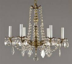 Spanish Brass & Crystal Chandelier c1950 Vintage Antique French Style Ceiling Light