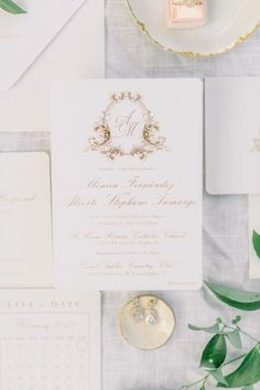 Gold elegant wedding monogram invitation