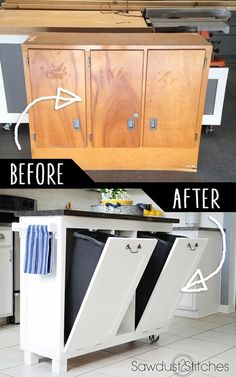 16.  Upcycle An Garage Sale Cabinet Into A Kitchen Cart!