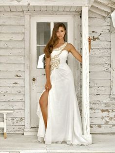 One Shoulder Applique  Sleeveless Floor-length Chiffon White Prom Dress / Evening Dress