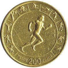 Moneda de oro 200 pesos Colombia 1971 Juegos Panamericanos.