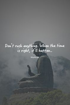 Don't rush anything. When the time is right, it'll happen. #wisdom #affirmations