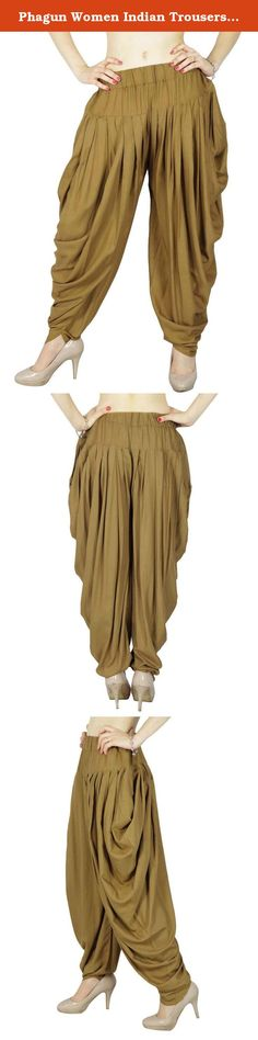 """Phagun Women Indian Trousers Yoga Harem Aladdin Pants Casual Boho Alibaba Harem. * Beautiful Handmade Trousers Pant. * These Harem have an elastic Smocked waist which make it more comfortable. * Color: Brown * Length: 45"""" Inches. .* Fabric: Rayon * Nice gift for yourself or your friend, family * If you do yoga or hippie dance, then these harem pants will be perfect . * Care:Separate wash. Hand wash is recommended. Do not bleach ,dry clean and tumble dry. * P.S. : Any accessories worn by..."""
