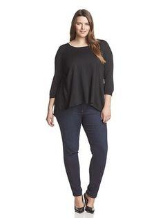 55% OFF Cullen Plus Women's 3/4 Sleeve Open Back Scoop Neck Sweater (Black)