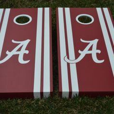 Alabama Crimson Tide Custom Cornhole Boards A logo