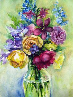 Watercolour flowers Original watercolour painting  Peony
