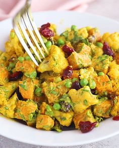 This fall-inspired salad is healthy, vegan, fluten free and whole30! Roasted cauliflower & sweet potatoes are tossed with cranberries, fresh herbs & a creamy curry tahini dressing in this gorgeous fall salad. It's easy to make, full of flavor, and amazing on its own or as a side dish. Salad With Sweet Potato, Potato Salad, Best Cinnamon Rolls, Healthy Slow Cooker, Healthy Peanut Butter, Roasted Cauliflower, Healthy Breakfast Recipes, Curry, Easy Meals