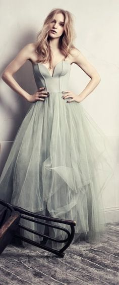 Mint tulle gown.