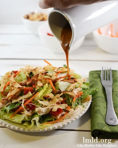 Want a delicious healthy dinner? This Thai Chicken Salad has a sweet peanut dressing, so many delicious ingredients and is a perfect healthy meal option #lmldfood