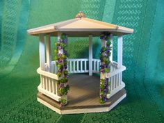 Miniature Gazebo for Dollhouse Quarter Scale by LindaIrwinCottages, $25.00