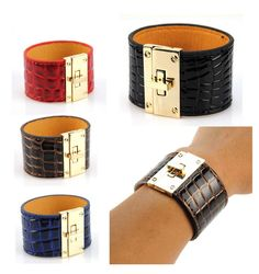 Women Faux Leather Twist Lock Bracelet Crocodile Alligator Bangle Cuff Wristband #RHS #Bangle