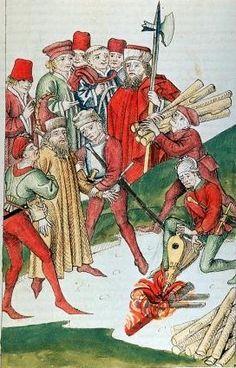 kolorierte Federzeichnung: Die Verbrennung des Hieronymus von Prag, um 1470, in: Ulrich von Richental: Konzil von Konstanz, in der Österreichischen Nationalbibliothek in Wien