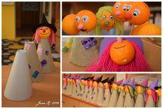 ...letos trošku náročnější než loni  :-)     Pomůcky:  polystyrenové kuličky, acrylová barva, tvrdý papír na kužel, barevný tvrdý papír na... Easter Crafts For Kids, Halloween Art, Trick Or Treat, Animation, Techno, Witches, Halloween, Autumn, Line
