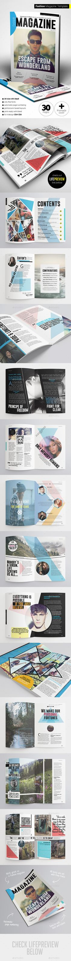 Fashion Magazine Template #design #journal Download: http://graphicriver.net/item/fashion-magazine/11383480?ref=ksioks