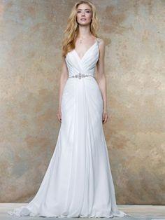 Sheath/Column V-neck Sleeveless Crystal Court Train Chiffon Wedding Dresses at HerDress Online