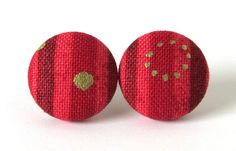 Red gold stud earrings christmas holidays fall by KooKooCraft, €8.00 $10