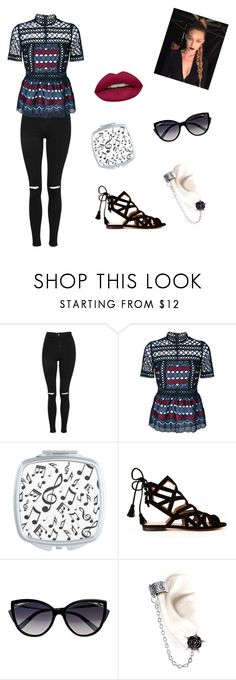 """🎥"" by soma-s ❤ liked on Polyvore featuring Topshop, self-portrait, Music Notes, Gordana Dimitrijević, La Perla and Huda Beauty"